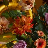 荷蘭Emerald人造花藝 橘紅色大理花