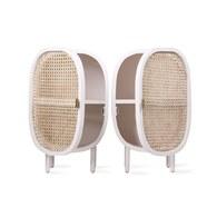 荷蘭HkLiving 藤編船艙造型床頭櫃組 (白)