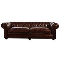 荷蘭PURE 切斯特菲爾德式皮革三人沙發 (深咖啡)