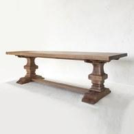 荷蘭PURE 雕刻造型桌腳可延伸餐廳方桌(棕、長275~365公分)