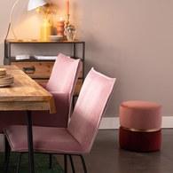 荷蘭Zuiver 輕奢糖果色絨布金屬拉環腳凳(糖果粉)