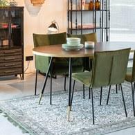 荷蘭Zuiver 奢華金屬撞色橢圓餐桌