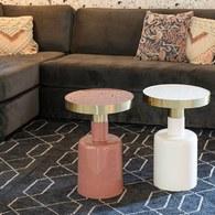 荷蘭Zuiver 鑲金圈膠囊顆粒造型邊桌(白)