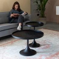 荷蘭Zuiver 黑木圓弧柱腳咖啡桌