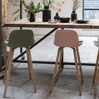 荷蘭Zuiver 艾伯特簡約弧形吧檯椅 (淡粉)