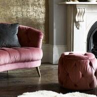 英國 Alexander&James 英倫古典奢華手工圓形腳凳 薔薇粉 天鵝絨