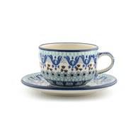 荷蘭BunzlauCastle 藍白地中海圖紋午茶杯盤組 (240毫升)