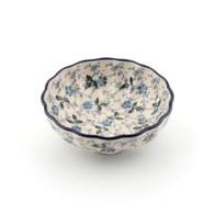 荷蘭BunzlauCastle 雪藍花圖紋波浪型陶碗