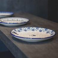 荷蘭BunzlauCastle 水玉花朵圖紋陶盤 (直徑23.5公分)