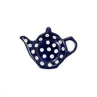 荷蘭BunzlauCastle 深藍水玉圖紋茶壺造型碟