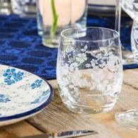 荷蘭BunzlauCastle 夏季花叢圖紋弧型玻璃杯
