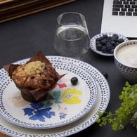 荷蘭FloraCastle 藍色手繪方塊圖紋餐盤 (直徑21.5公分)