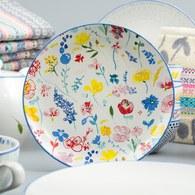 荷蘭FloraCastle 繽紛花朵圖紋餐盤 (直徑21.5公分)