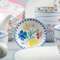 荷蘭FloraCastle 藍色手繪方塊圖紋甜點盤 (直徑10公分)