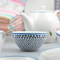荷蘭FloraCastle 藍色手繪方塊圖紋陶碗 (直徑11公分)