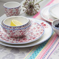 荷蘭FloraCastle 田野紅花叢圖紋陶碗 (直徑11公分)