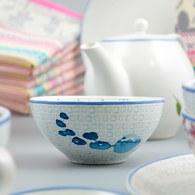 荷蘭FloraCastle 水藍色桔梗花圖紋陶碗 (直徑13公分)