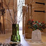 英國LSA 煙囪型玻璃花器 (橄欖綠、高45公分)