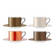 英國LSA 霓彩亮釉咖啡杯盤4入組 (棕色系)