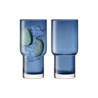 英國LSA 風格高低差玻璃杯2入組 (寶藍、390毫升)