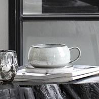 丹麥LeneBjerre 薰燒灰白杯盤組 (400毫升)