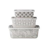 丹麥LeneBjerre 風格圖紋方型餐盒組 (3入)