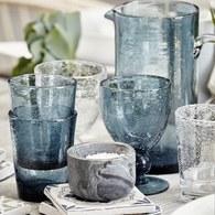 丹麥LeneBjerre 神秘海洋手工玻璃杯 (藍、直徑8公分)