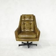 荷蘭PURE 皮革旋轉辦公椅 (橄欖綠)