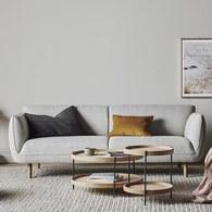 丹麥Sketch 柔軟線條布面三人沙發 (灰)