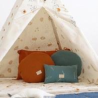 西班牙Nobodinoz有機棉 舒緩靠墊抱枕 (小、綠色營地探險)