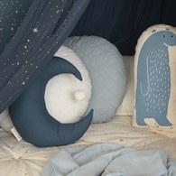 西班牙Nobodinoz有機棉 晚安月亮靠枕 (午夜藍)