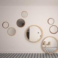葡萄牙WEWOOD 圓形月牙造型鏡 (橡木、直徑60公分)
