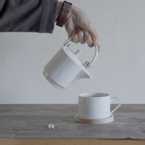 英國LSA 木盤白瓷杯壺組