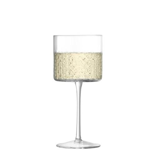 英國LSA 編織摺紋紅酒高腳杯2入組 (透明、320毫升)