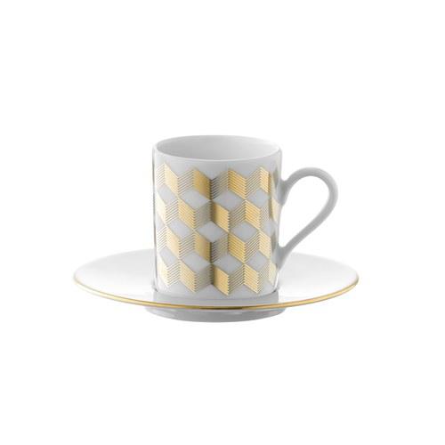 英國LSA 金絲彩帶咖啡杯盤4入組 (100毫升)