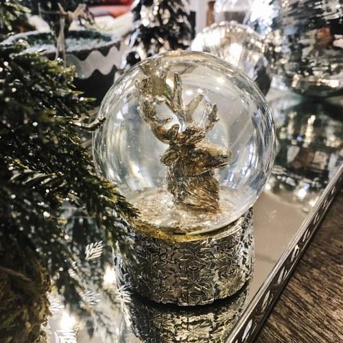 丹麥LeneBjerre 銀色耶誕麋鹿雪球(高8公分)