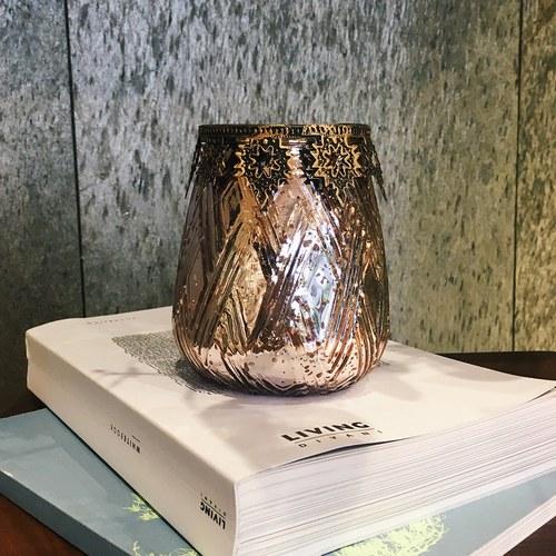丹麥LeneBjerre 神聖刻花紋聖誕夜奉獻蠟燭台(玫瑰金)