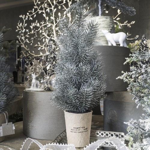 丹麥LeneBjerre 暖心小語米色盆聖誕樹(高36公分)