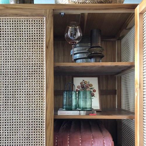 丹麥Nordal 簍空編織柚木收納櫃