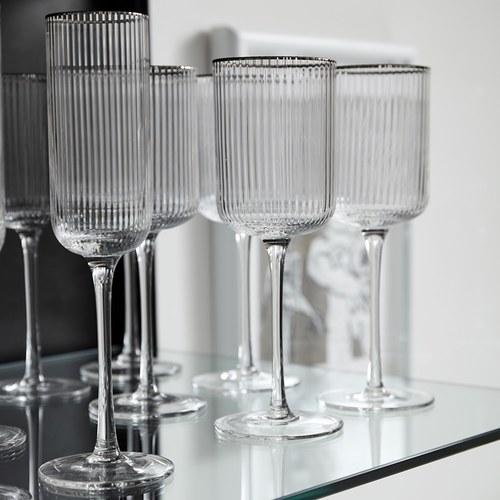 丹麥Nordal 銀圈皺褶白酒杯(250毫升)