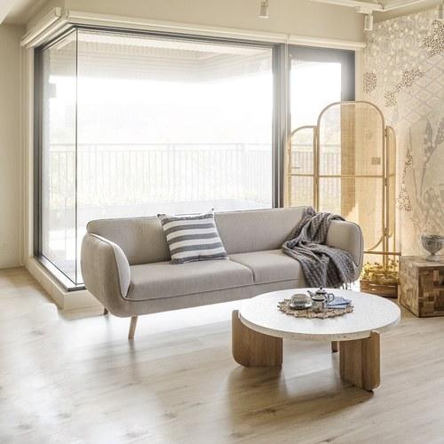 丹麥Sketch 柔軟線條布面三人沙發 (米灰)