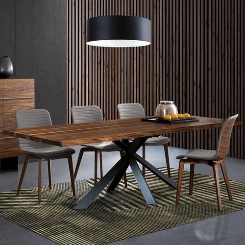 義大利Oliver B VELA車線皮革包覆拼接原木餐椅 (灰)