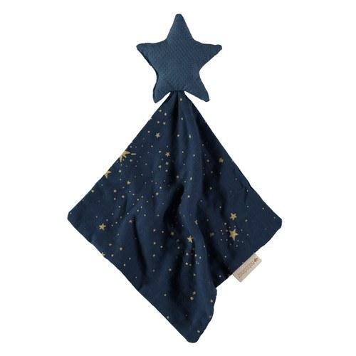 西班牙Nobodinoz有機棉寶寶安撫巾 (星空藍煙火)