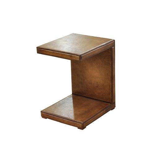 荷蘭PURE ㄇ字形皮革邊桌 (棕)