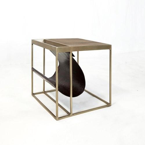 荷蘭PURE 方形邊桌附皮革雜誌架 (棕)
