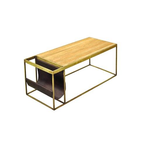 荷蘭PURE 長方形咖啡桌附皮革雜誌架 (深駝)