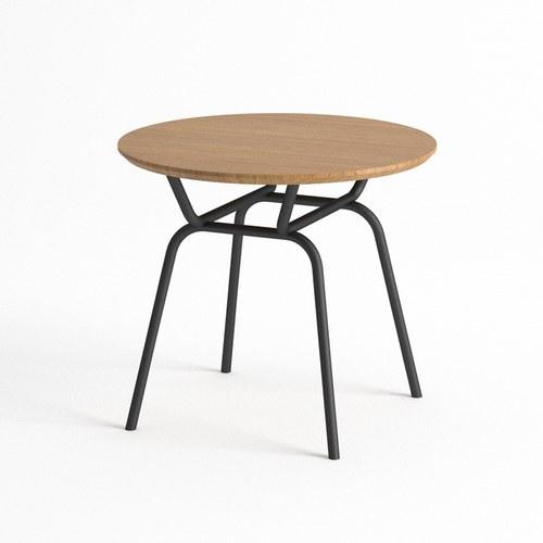 泰國OKWood 金屬腳圓形邊桌 (橡木)