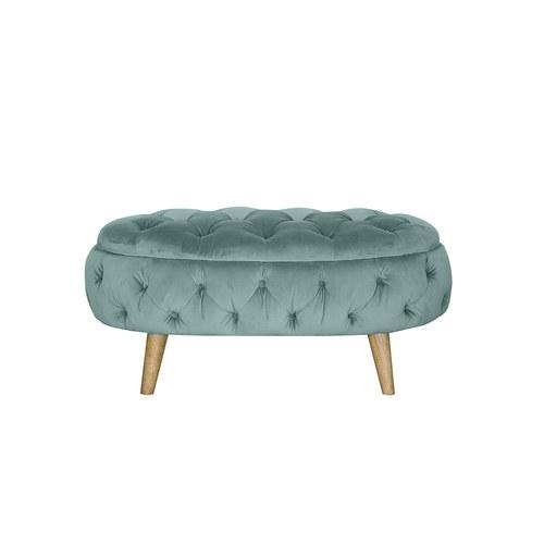 英國 Alexander&James英倫古典奢華手工圓弧腳凳 湖水綠 天鵝絨