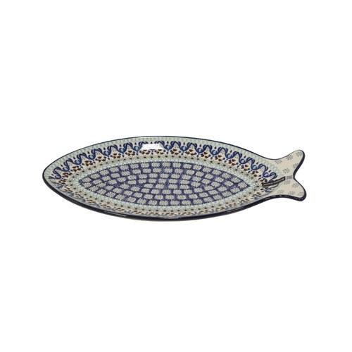 荷蘭BunzlauCastle 藍白地中海圖紋魚型陶盤 (長35公分)