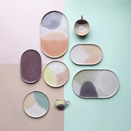 荷蘭HkLiving 粉彩調色藝術橢圓餐盤(紫丁香)